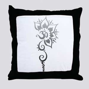 Rising Om - Silver fade Throw Pillow